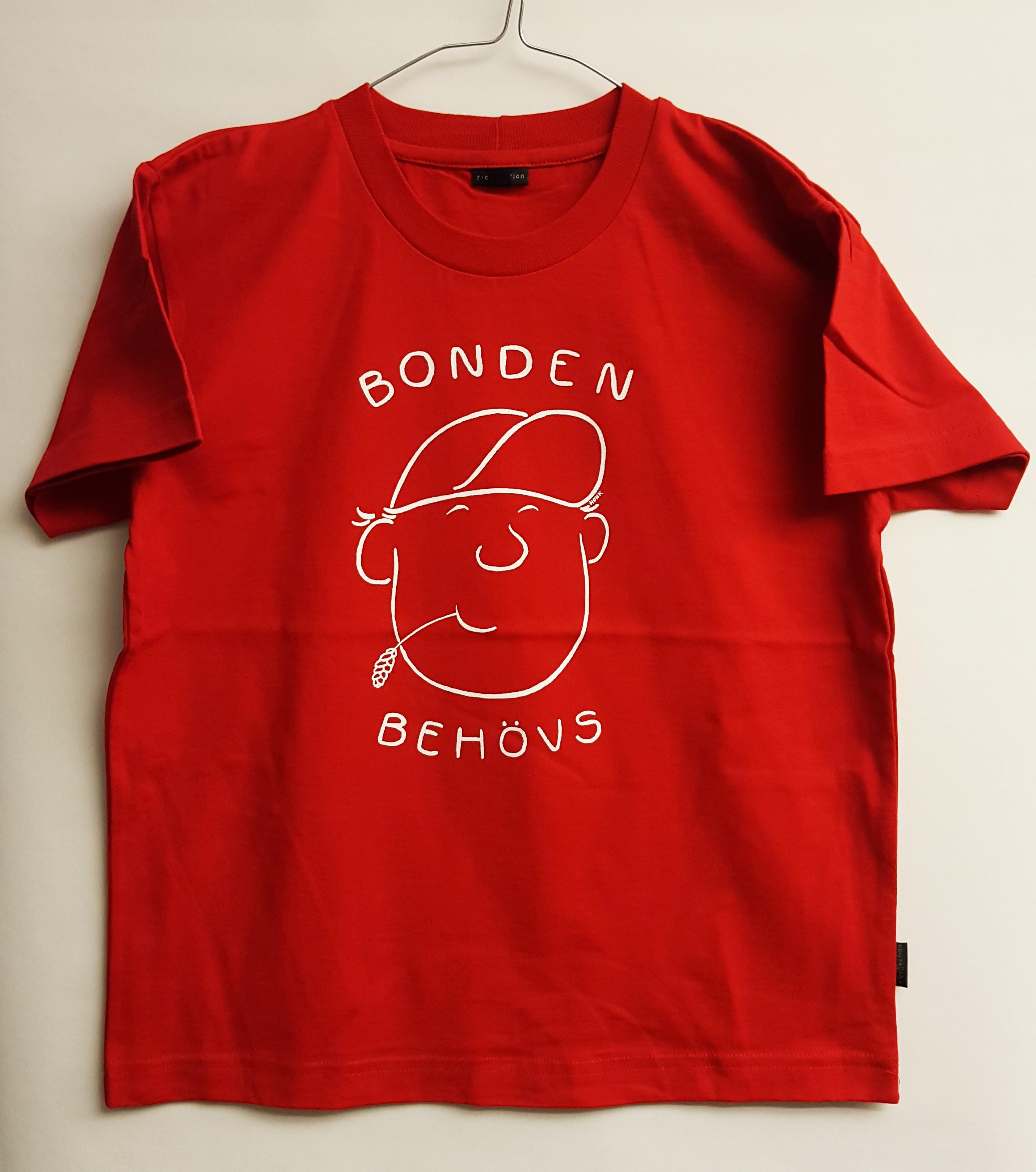 SLC - Utgående modell: T-skjorta för barn och vuxna, Bonden behövs, röd