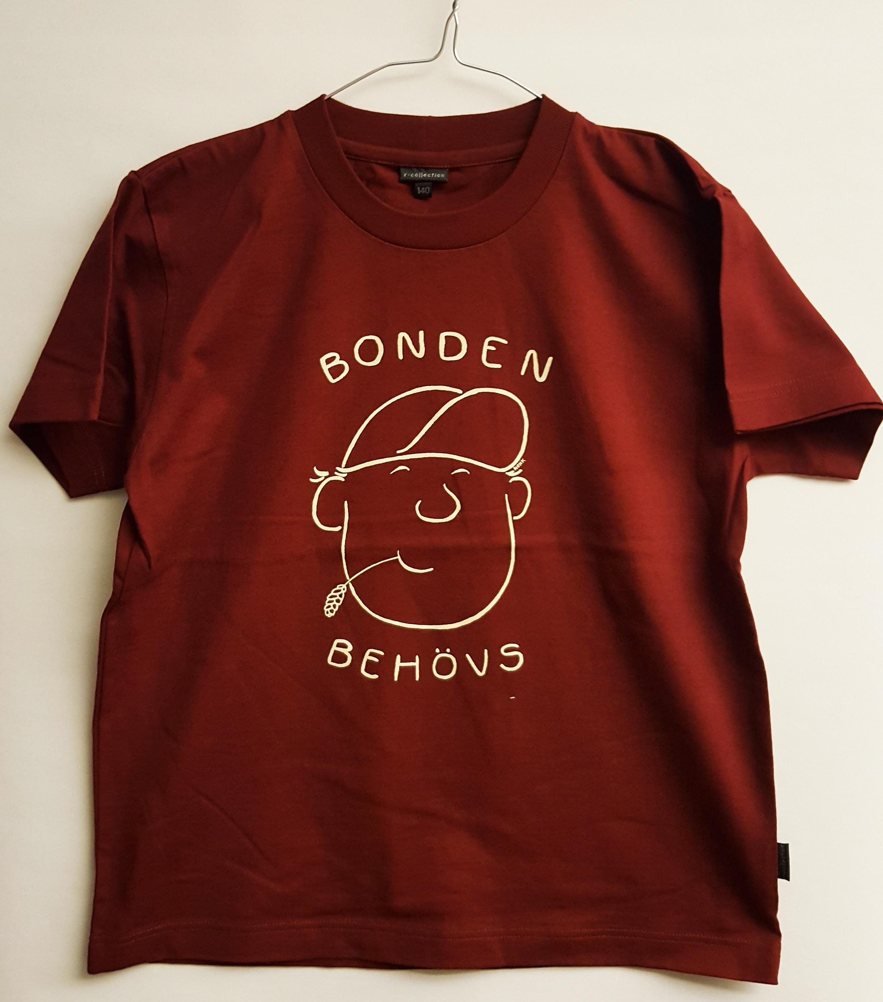 SLC - Utgående modell: T-skjorta för barn och vuxna, Bonden behövs, vinröd