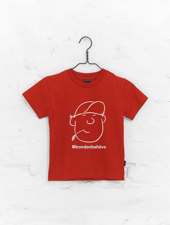 SLC - T-skjorta för barn, #bondenbehövs, röd
